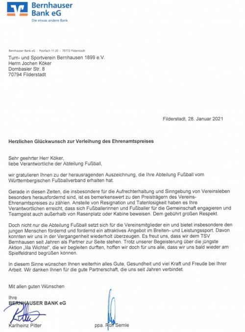 Glückwunsch von der Bernhauser Bank zum Vereins-Ehrenamtspreis 2020