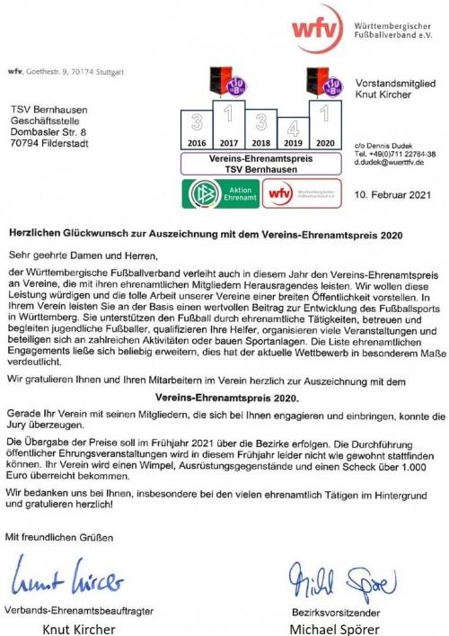 Sieger WFV Ehrenamtspreis 2020 - Offizieller Brief ist da!