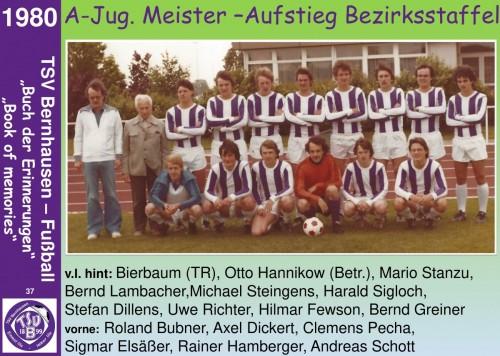 101 Jahre lila Fußballgeschichte - 1980  A-Jug. Meister –Aufstieg Bezirkstaffel