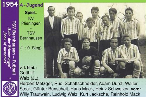 101 Jahre lila Fußballgeschichte - 1954 A-Jugend