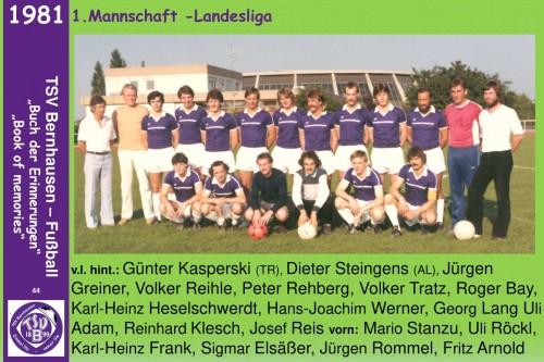 101 Jahre lila Fußballgeschichte  - 1981  1.Mannschaft